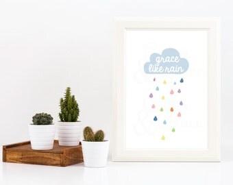 50% OFF SALE Grace Like Rain *Digital Printable 8x10, 5x7