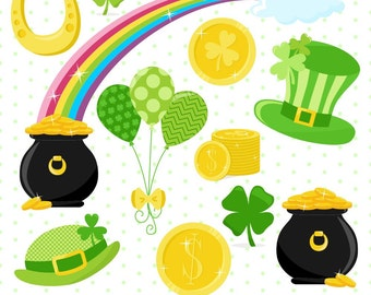 80% OFF SALE St Patricks Day Clipart, Shamrock Clipart, Coin Clipart, Rainbow Clipart, Pot of Gold