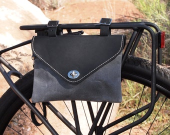 Bicycle Bag, Wristlet / Clutch, Black Leather and Charcoal Waxed Canvas, Hand Made in USA