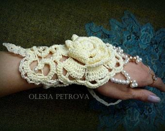Ivory crochet bracelet Wedding Guff Hand Bridesmaid Jewelry Decoration Flowers accessories mother Pearl beads Lace Bracelet statement guff