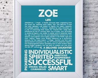 ZOE Personalized Name Print / Typography Print / Detailed Name Definitions / Numerology-calculated Destiny Traits / Educational