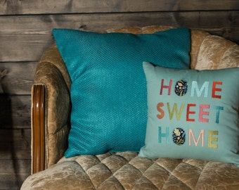 Home Sweet Home Embroidered Pillow