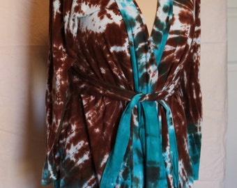 Brown and blue waterfall jacket with tie