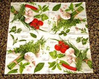 "6 Decoupage Paper Napkins Still Life Garlic, onion, parsley 33x33 cm. 13""x13"" set of 6 pcs. Napkins"