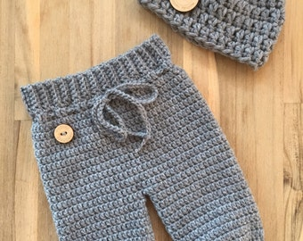 Crochet handmade newborn baby pants-unisex-grey