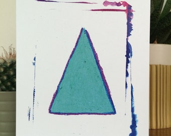 Watercolor triangle - A6 postcard incl envelope // Colorful illustration