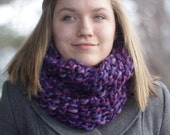 Chunky Purple Scarf - Bulky Cowl in Shades of Plum, Lavender, Burgundy - Knit Circle Scarf