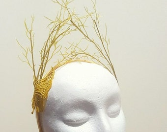 Gold headband with embroidered butterfly