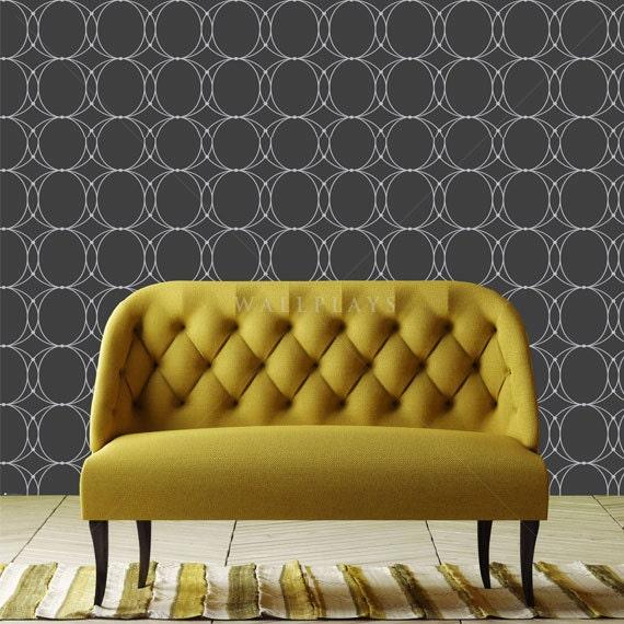 oval geometric black removable wallpaper peel stick
