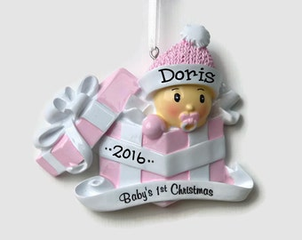 Baby Girl Gift Wrapped Personalized Ornament - Baby's First Christmas - Hand Personalized Christmas Ornament