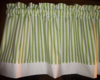 Lime Green White Trim Striped Stripes Stripe fabric window topper curtain Valance