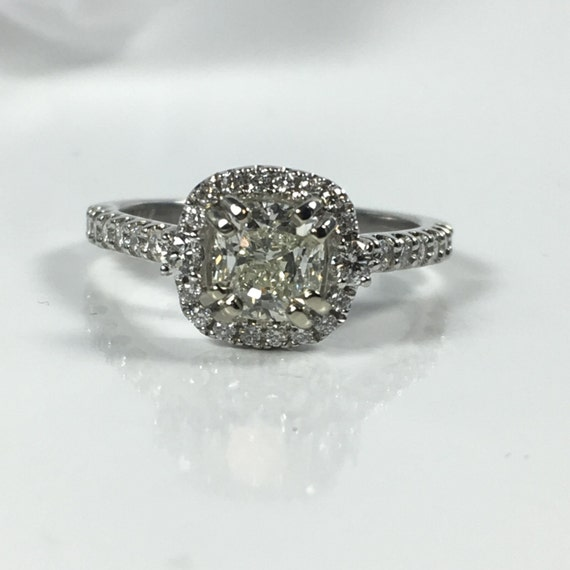 Halo Engagement Ring 1 Carat Cushion Cut by Itsmyfavoritejewelry