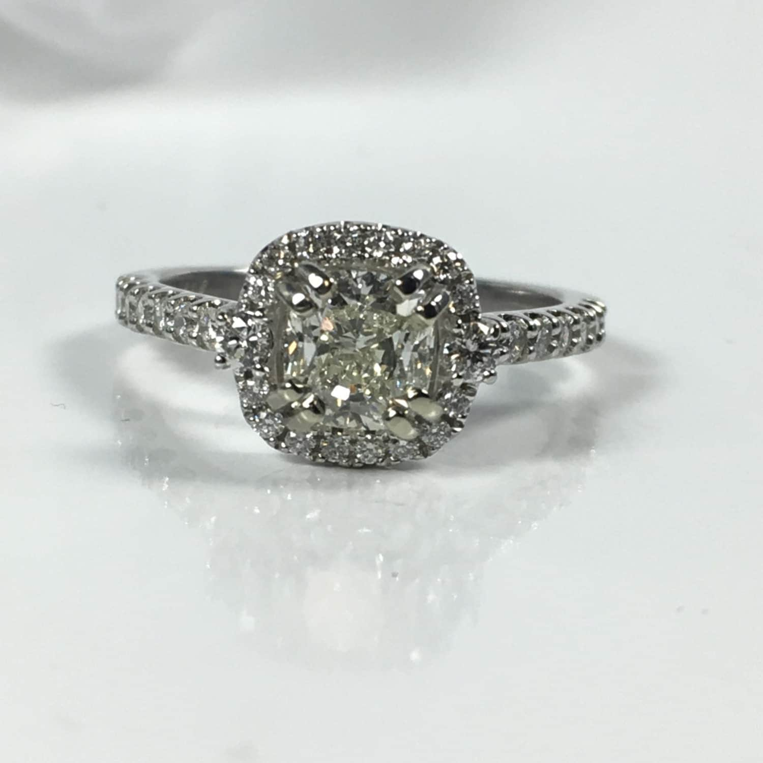 halo engagement ring 1 carat cushion cut by
