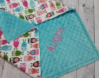 Personalized Minky Baby Blanket, Owl Minky Blanket, Baby Girl Minky Blanket, Girl Baby Blanket, Owl Baby Blanket