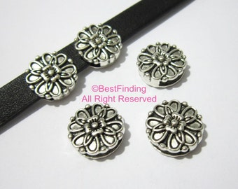 10pcs 10mm Bloomy flower leather slider 10x2mm Flat leather findings