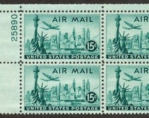 1947 Block of Four US Airmail Stamps, New York, Statue of Liberty, Scott #C35, unused
