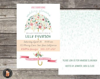 Printable 4x6 Floral Umbrella - April Showers Baby or Bridal Shower Invitation - Customizable