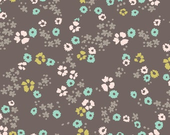 Scattered Floral ORGANIC KNIT in Brown by Cloud9 Fabrics 1124
