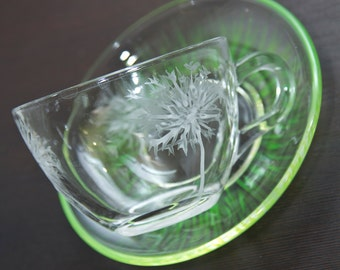 Dandelion stained glass coffee cup and saucer. Kitchen decor. Birthday gift. Cute white and green