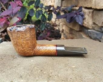 Sandblasted brown Dublin tobacco pipe, Davis Pipe, Handmade,
