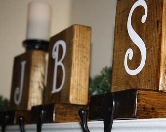 Personalized, Rustic Christmas stocking holder