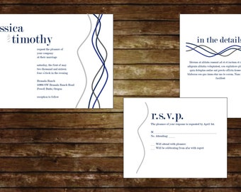 Twisted Lines Wedding Invitation Suite, Wedding Invitations, Digital Invitations, Custom Invitations