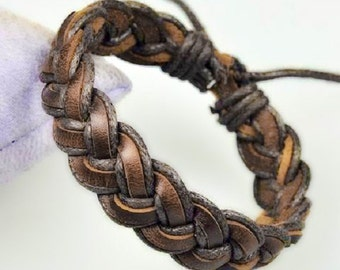 Premium Quality Nine (9) Strand Tightly Braided Leather and Hemp Bracelet in Shades of Brown BST-163