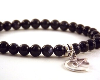 Blue Goldstone Star and Moon Charm Bracelet Gift For Her
