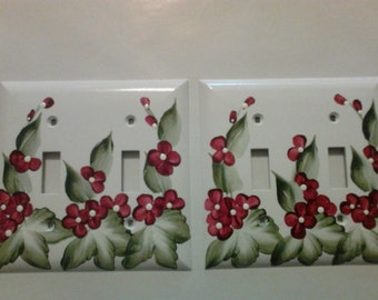 Hand Painted Dual Toggle Light Switch Cover Wildflower Design