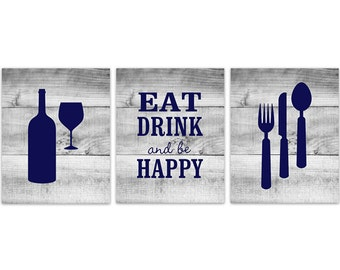 Rustic Kitchen Art Eat Drink Quote Fork Spoon Wall Decor Wine Glass