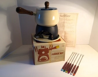 Vintage New-In-The-Box Fondu Pot Set, Unused, Mid Century Modern