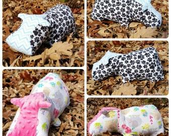 Plush Stuffed Hippo/Stuffed Animal/Travel Hippo Pillow