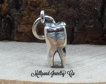 Tooth Charm, Molar Charm, Realistic Tooth Charm, Dentist Charm, Dental Charm, Teeth Charm, Sterling Silver Charm, PS01467