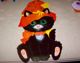 Vintage retro Halloween black cat die cut decoration