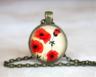POPPY Pendant •  Poppy •  Red Flower Necklace •  Flower Art Jewelry • Gift Under 20 • Made in Australia (P0155)