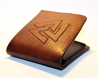 Leather Wallet With Valknut!Norse Symbol! Wallet With Viking Symbol! Great Handmade Wallet! Great Gift! Credit Card Wallet!