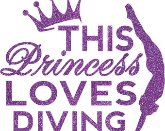Princess Diving Iron On Decal