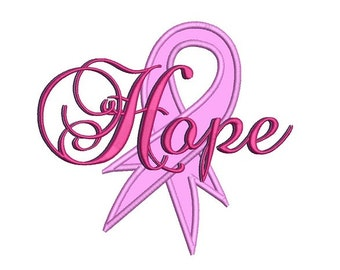 Hope Breast Cancer Ribbon Applique Machine Embroidery Digitized Design Pattern  - Instant Download - 4x4 , 5x7, and 6x10 -hoops