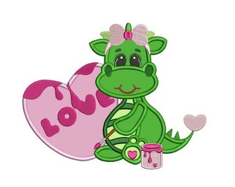 Girl Dino Artist With Big Heart Machine Embroidery Applique Design Digitized Pattern - Instant Download