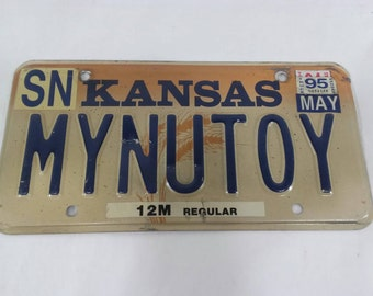 Vintage My new toy vanity license plate personalized car tag mynutoy kansas