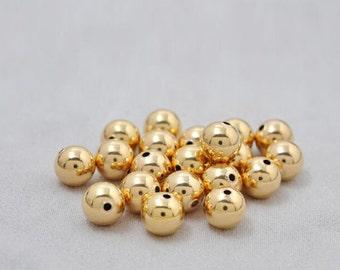 All Sizes -5Pcs 18 Karat Round Bead Gold Spacer