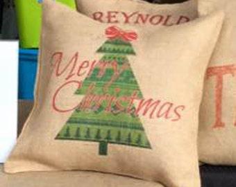Merry Christmas Burlap Pillow Cover