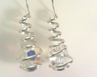 Sterling Silver and Swarovski Crystal AB, Wire Spiral Wrapped Caged Dangle Earrings