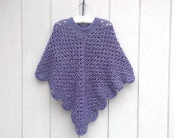 Womens shawl - Crocheted poncho - Crochet shawl - Womens retro poncho - Teens poncho