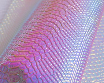Snake Skin Holographic Leather Fabric,Holographic Snake Skin Leather For Bags Crafting,Purses Leather Fabric,Sold by 1/4 Yard(27x18'')
