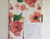 Minky Blanket  - Floral Dream with White Minky
