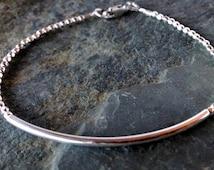Sterling beaded bracelet, silver bar bracelet, minimalist silver bracelet, stacking bracelet, woman's bracelet,teen bracelet, gifts for her