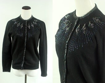 1950's Navy Sequin Lambswool & Angora Sweater Cardigan