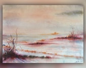 Hand-dyed fabric (Unique landscape art panel hand-dye-painted on cotton fabric).