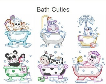 Bath Cuties Machine Embroidery Designs Instant Download 4x4 5x5 6x6 hoop 10 designs SHE5157